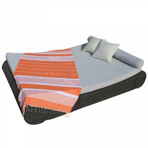 Fouta rayures fines - Orange et blanc