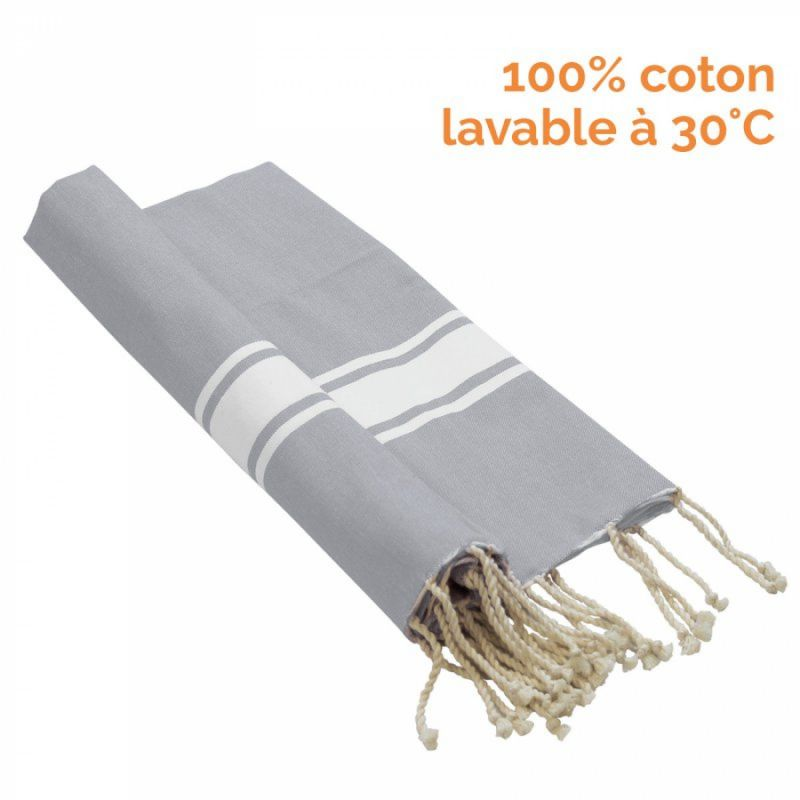 Fouta bande simple - Gris clair