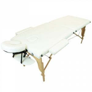 Table de massage bois - 2 Zones - Blanc