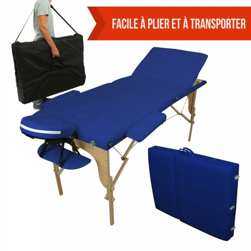 Table de massage bois - 3 Zones - Bleu azur