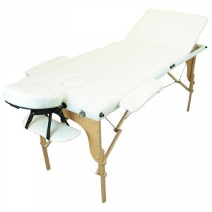 Table de massage bois - 3 Zones - Blanc