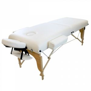 Table de massage bois confort plus - 2 Zones - Blanc