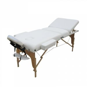 Table de massage bois confort plus - 3 Zones - Blanc