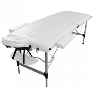 Table de massage aluminium - 2 Zones - Blanc