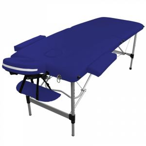 Table de massage aluminium - 2 Zones - Bleu azur