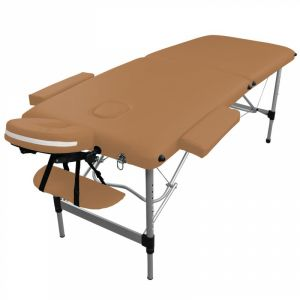 Table de massage aluminium - 2 Zones - Marron clair