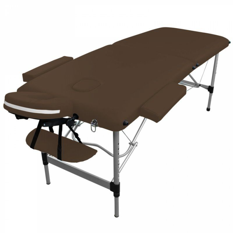 Table de massage aluminium - 2 Zones - Marron foncé