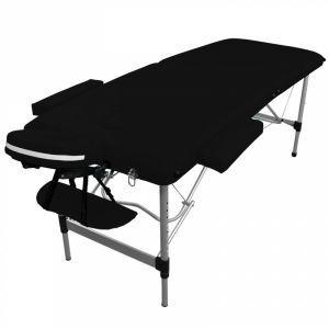 Table de massage aluminium - 2 Zones - Noir