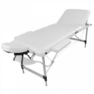 Table de massage aluminium - 3 Zones - Blanc