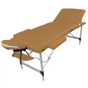 Table de massage aluminium - 3 Zones - Marron clair