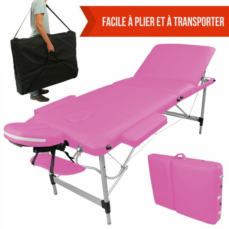 Table de massage aluminium - 3 Zones - Rose